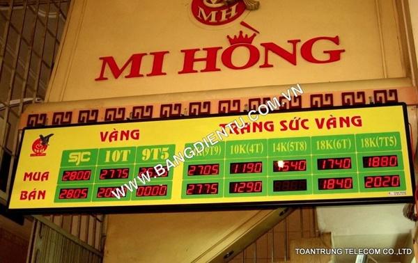 Toàn Trung cung cấp bảng điện tử giá vàng cho hàng trăm doanh nghiệp tại TP HCM