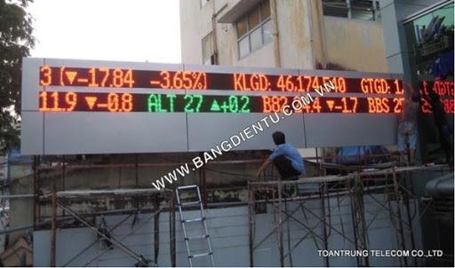 Bảng điện tử chứng khoán được nhiều doanh nghiệp chứng khoán, tài chính lắp đặt tại Toàn Trung.