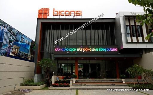 Lắp đặt bảng điện tử p10 fullcolor và bộ logo ledsign - phòng giao dịch bất động sản biconsi