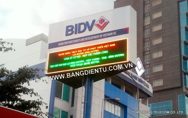 Thi công pano đèn led quảng cáo - ngân hàng BIDV chi nhánh Bình Dương
