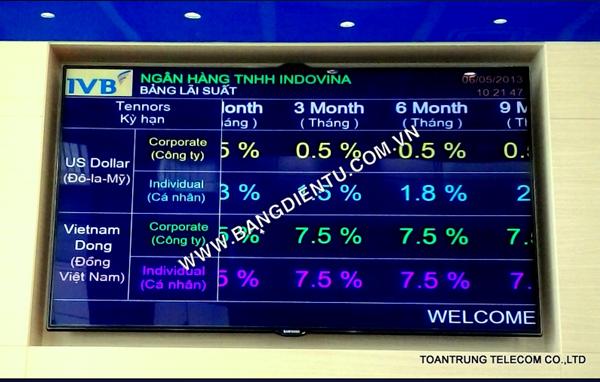 Toàn Trung sản xuất và lắp đặt bảng điện từ LCD cho ngân hàng Indovina.