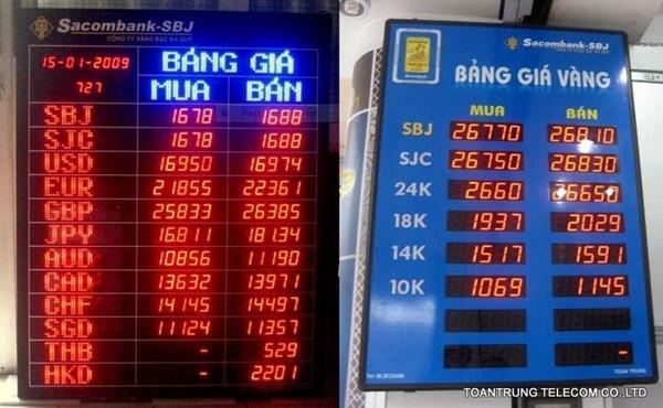 Toàn Trung là đơn vị lắp đặt bảng điện tử giá vàng cho công ty VBĐQ Sacombank  - SBJ