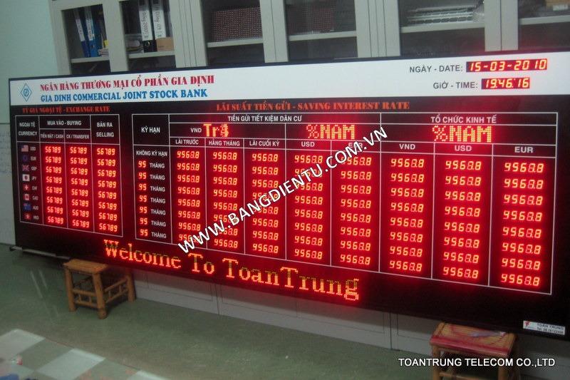 Bảng điện tử hiển thị của ngân hàng Agribank do Toàn Trung lắp đặt.