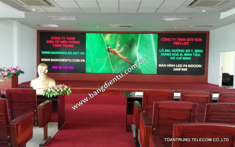 Toàn Trung cung cấp và lắp đặt màn hình led p4 tại hội trường Công Ty TNHH MTV Khu Công Nghiệp Vĩnh Lộc.